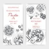 Vector illustration sketch - pasta. Card menu italian restaurant. Banner italan food. Stock Photos