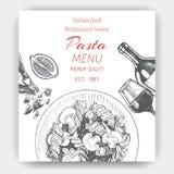 Vector illustration sketch - pasta. Card menu italian restaurant. Banner italan food. Royalty Free Stock Images