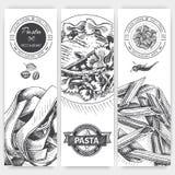 Vector illustration sketch - pasta. Card menu italian restaurant. Banner italan food. Stock Photo
