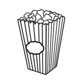 Vector illustration with sketch popcorn bucket. Sketch design. Cinema snack. Hand drawn fast food Stock Photo