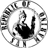 Stamp San Marino. Vector illustration of sketch stamp San Marino history STATUE of LIBERTY and inscription inside stock illustration