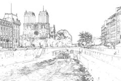 Vector Illustration of Notre Dame de Paris royalty free illustration