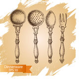 Vector illustration sketch - tableware. dinnerware. Table setting Royalty Free Stock Image