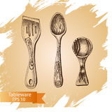 Vector illustration sketch - tableware. dinnerware. Table setting Stock Photo