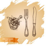 Vector illustration sketch - tableware. dinnerware. Table setting Stock Image