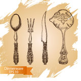 Vector illustration sketch - tableware. dinnerware. Table setting Royalty Free Stock Images