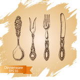Vector illustration sketch - tableware. dinnerware Royalty Free Stock Photo