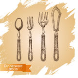 Vector illustration sketch - tableware. dinnerware. Table setting Stock Photography