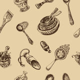 Vector illustration sketch - tableware. dinnerware. Table setting Royalty Free Stock Photo
