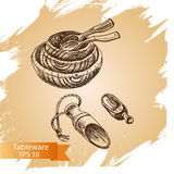 Vector illustration sketch - tableware. dinnerware. Table setting Stock Photos