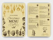 Vector illustration sketch - Vintage Menu. coffee. Christmas hand drawn Decorations - fur tree for xmas design. With balls, toys,. Vector illustration sketch Royalty Free Stock Image