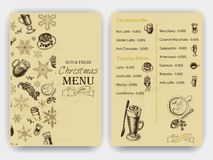 Vector illustration sketch - Vintage Menu. coffee. Christmas hand drawn Decorations - fur tree for xmas design. With balls, toys,. Vector illustration sketch Royalty Free Stock Photos