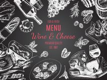 Vector illustration sketch -wine and cheese. Card Menu restaurant. vintage design template, banner. Food card Royalty Free Stock Photography