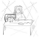Vector illustration sketch of a woman Taylor. Seamstress costume designer Stock Photo