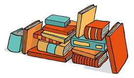 Sketchy bunch of piled books Royalty Free Stock Image