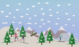 Vector illustration of ski track and people skiing, flat design Royalty Free Stock Photography