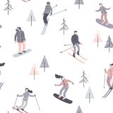 Vector illustration of skiers and snowboarders. Seamless pattern. Royalty Free Stock Images