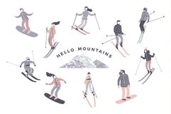 Vector illustration of skiers and snowboarders. Royalty Free Stock Photo