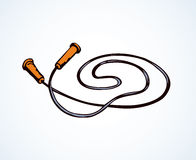 Vector illustration. Skipping rope. Big red modern jumprope  on white backdrop. Bright color hand drawn picture sketchy in art retro scribble style. Close up top Royalty Free Stock Photography
