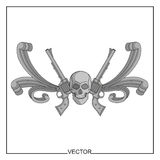 Vector illustration of skull and ancient revolvers Stock Images