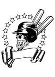 Skull in baseball helmet Stock Images