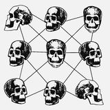 Vector illustration of the skull from different angles, sketch, ink drawing, connected by lines, union, community, communication,. Suitable for print on a T Royalty Free Stock Photo