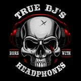 Vector illustration of skull dj. Shirt design on dark background. Text is on the separate layer Royalty Free Stock Photo
