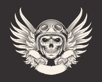 Vector illustration of a skull racer in a helmet and goggles. Sketch of a tattoo, emblem, element of a dizan, print for a T-shirt Stock Photography