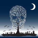 Vector  illustration of  Skull  tree moon graves Royalty Free Stock Photos