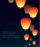 Vector illustration of sky lanterns, stars Royalty Free Stock Image