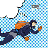 Vector illustration of skydiving woman, retro pop art comic style Stock Photo