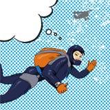 Vector illustration of skydiving woman, retro pop art comic style Stock Photo