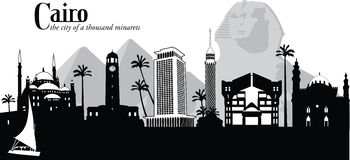 Vector illustration of skyline of Cairo, Egypt. Vector illustration of the skyline cityscape of Cairo with sphinx and pyramids Stock Photography
