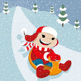Vector illustration. Sledding. Stock Photo