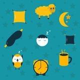 Vector illustration with sleep icons Royalty Free Stock Photos