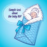 Vector illustration of sleeping baby boy Royalty Free Stock Photos