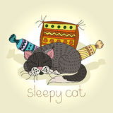 Vector illustration of a sleeping cat Hand drawing of a cute cat. Cat among the soft pillows. Postcard, poster, drawing. Housecat Royalty Free Stock Photos