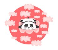 Vector illustration with sleeping or dreaming panda in pink clouds. Baby, children, kawaii print. vector illustration
