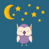 Vector illustration with sleeping owl Stock Photography