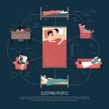 Vector Illustration Of Sleeping People Royalty Free Stock Image