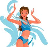 Vector illustration of a slender athletic girl Royalty Free Stock Images