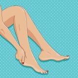 Vector illustration of slender female legs, sitting barefoot, si Stock Photography