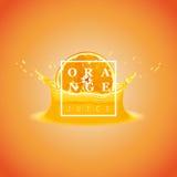 Vector illustration Slice of Orange with Splashing. Fresh orange background. Royalty Free Stock Images