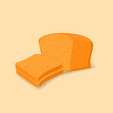 Vector illustration of sliced bread. On light yellow background vector illustration