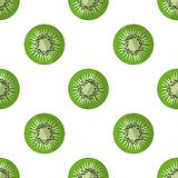 Vector illustration of slices of kiwi on a light background. Bright fruity seamless pattern with a juicy kiwi image. Vector illustration of slices of kiwi on a royalty free illustration