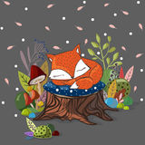 Vector illustration with  slipping baby fox,leaves, branches Royalty Free Stock Photography