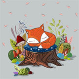 Vector illustration with  slipping baby fox Royalty Free Stock Photo