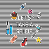 Vector illustration of slogan Lets take a selfie Royalty Free Stock Images