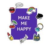 Vector illustration of slogan Make me happy Royalty Free Stock Photos