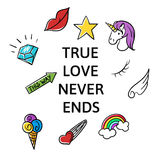 Vector illustration of slogan True love never ends Royalty Free Stock Photography